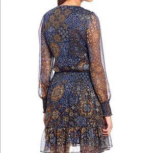 Print V-Neck Long Sleeve Smocked Waistline Dress
